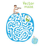 Vector Maze, Labyrinth with Snake and Fakir Royalty Free Stock Photos