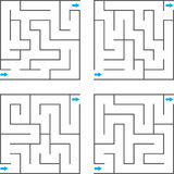 Vector maze. Set of four vector mazes Stock Images