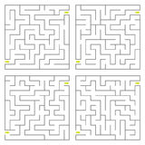 Vector maze. Set of four perfect vector mazes Royalty Free Stock Images