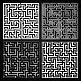 Vector Maze Set. Labyrinth with Entry and Exit. Maze Set. Labyrinth with Entry and Exit. Find the Way Out Concept. Transportation. Logistics Abstract Background royalty free illustration