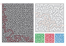 Vector mazes. Set of labyrinths and ways, vector deign elements Stock Image