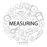 Vector Measuring pattern with word. Measuring background. Vector illustration Stock Photos