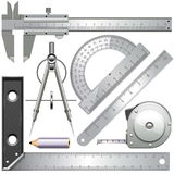 Vector Measuring Tools. On white background vector illustration
