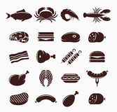 Vector Meat Icons Set. Vector meat icons. Meat and seafood icons for grocery, food shop, meat product label, packaging and advertising Stock Photos