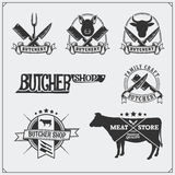 Vector meat labels. Butcher`s business logos. Silhouettes of farm animals. Stock Photos