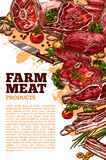 Vector meat poter for butchery or farm market. Farm fresh meat poster template for butchery shop or farmer market. Vector meat products of beef loin or Royalty Free Stock Photography