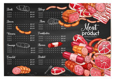 Vector meat price template butchery or farm market. Meat farmer market or butchery delicatessen price or menu template. Vector meat products of brat wursts Royalty Free Stock Images