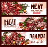 Vector meat product banners for butchery shop stock illustration