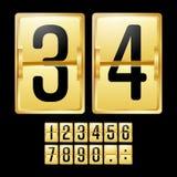 Vector mecánico del marcador Calendario amarillo del oro con números negros El panel análogo del reloj Temporizador de la cuenta  stock de ilustración
