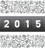 Vector mechanical scoreboard numbers 2015. And Christmas and New Year objects royalty free illustration