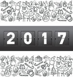 Vector mechanical scoreboard numbers 2017. And Christmas, and New Year objects Stock Image