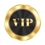 Vector medal made of gold with a black glossy background and gol Royalty Free Stock Photo
