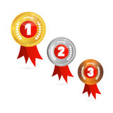 Vector Medals: Gold, Silver, Bronze, First, Second, Third Royalty Free Stock Photo