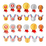 Vector Medals Set. Gold Silver Bronze, First  Second Third Stock Image