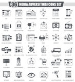 Vector Media adversiting black icon set. Dark grey classic icon design for web. Royalty Free Stock Images