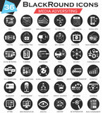 Vector Media adversiting circle white black icon set. Ultra modern icon design for web. Stock Photography