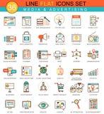 Vector media advertising flat line icon set. Modern elegant style design  for web. Royalty Free Stock Image