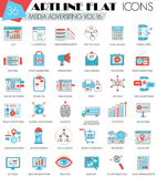 Vector Media advertising ultra modern outline artline flat line icons for web and apps. Royalty Free Stock Photos