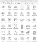 Vector Media advertising ultra modern outline line icons for web and apps. Vector Media advertising ultra modern outline line icons for web and apps stock illustration