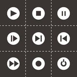 Vector media buttons icon set. On black background Stock Photos