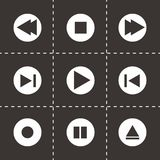 Vector media buttons icons set. On black background Royalty Free Stock Photo