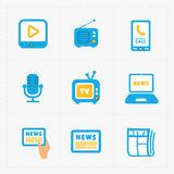 Vector Media Icons set on white background Stock Images