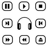 Vector media player icons set. Multimedia Stock Image