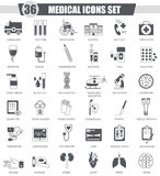 Vector Medical black icon set. Dark grey classic icon design for web. Royalty Free Stock Photo