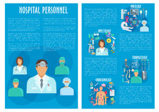 Vector medical brochure hospital personnel doctors Royalty Free Stock Photo