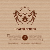 Vector Medical Center Health Card, beauty salon, spa massage studio. Vector Medical Center Health Card, kraft paper background. Business concept for beauty salon Stock Photos