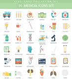 Vector medical color flat icon set. Elegant style design. Stock Images
