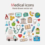 Vector Medical doddle icon set. Vector Medical hand drawn icons set on a white background Stock Photo