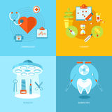 Vector medical and health icons set for web design, mobile apps. Royalty Free Stock Photos