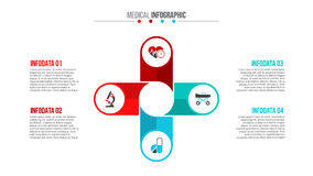 Vector medical and healthcare infographic. Vector plus infographic. Medical and healthcare template for presentation with 4 steps, options, parts or processes Royalty Free Stock Image