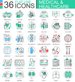 Vector medical healthcare medicine modern color flat line outline icons for apps and web design. Royalty Free Stock Photo