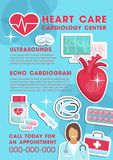 Vector medical heart care cardiology clinic poster vector illustration