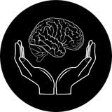 Vector medical icon. Protection of brain. Vector medical icon. Black and white. Simply change Royalty Free Stock Images