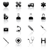 Vector medical icons. Vector set of 16 medical symbols isolated on white royalty free illustration