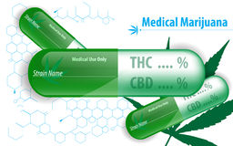 Vector medical marijuana capsule concept background Stock Image