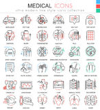Vector Medical medicine color flat line outline icons for apps and web design. Medical healthcare icons. Royalty Free Stock Photography