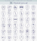 Vector medical outline icon set. Elegant thin line style design. Royalty Free Stock Photos