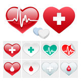 Vector Medical Set of Hearts Icons. Vector Icons Set of Hearts for Medical Projects. Isolated on White Background. Clipping paths included in additional jpg Royalty Free Stock Photos