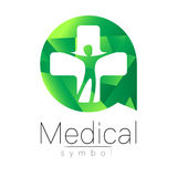 Vector medical sign with cross, human inside circle. Symbol for doctors, website, visit card, icon. Green color. Medicine modern concept design. Health and Stock Photo