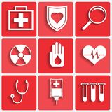 Vector medical theme icons set Royalty Free Stock Photography