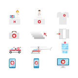 Vector medical web icons: hospital emergency transport doc nurse Royalty Free Stock Photography