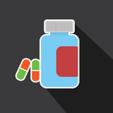 Vector of medicine bottle with long shadow Royalty Free Stock Images