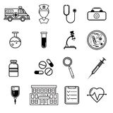 Vector medicine icons set in flat style. Vector medicine icons set. Doctor or nurse avatar, medical symbols isolated on white background. Flat style design Royalty Free Stock Photo