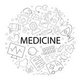 Vector Medicine pattern with word. Medicine background. Vector illustration Stock Photo