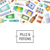 Vector medicines, pills and potions background. Vector medicines banner, pills and potions background with place for text illustration Stock Image