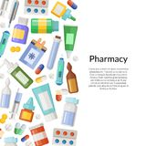 Vector medicines, pills and potions background. With place for text illustration Royalty Free Stock Image